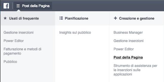 link share - post della pagina gestione inserzioni