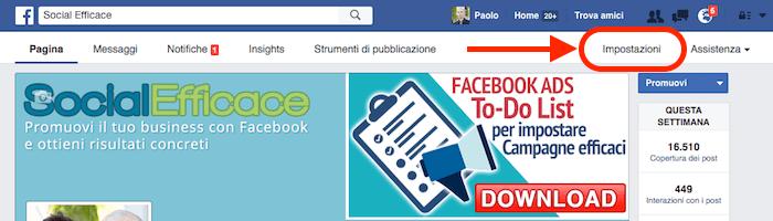 aggiungere amministratore pagina fb - impostazioni