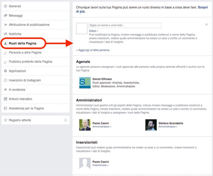 aggiungere amministratore pagina fb - ruoli della pagina