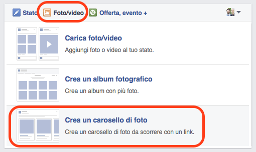 facebiook post carosello da pagina fb