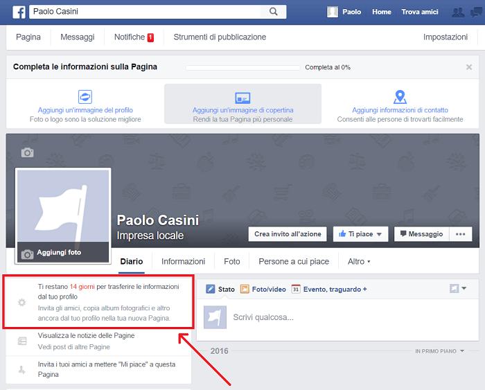 convertire profilo pagina - 14 giorni