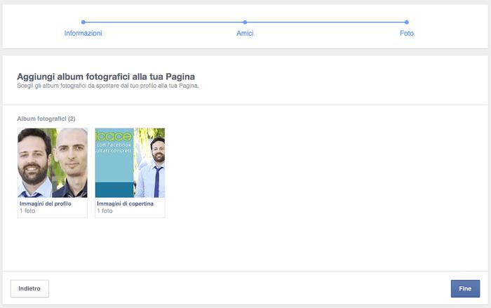 convertire profilo pagina - migrazione contenuti step 03 foto