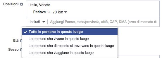 Facebook Ads target luogo geografico