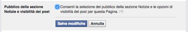 impostazione pagina facebook selezione pubblico e visibilita post