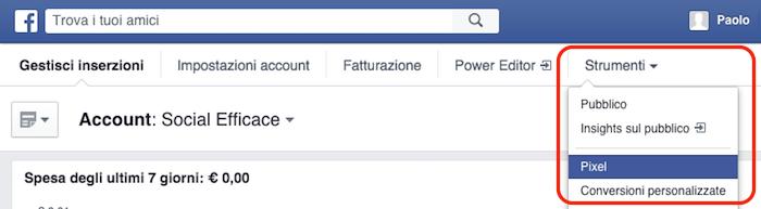 pixel facebook - voce menu