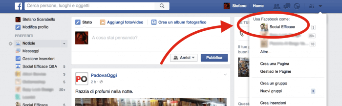 Accesso Pagina Facebook