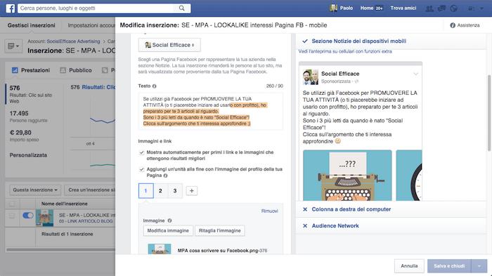 come modificare inserzione facebook - modifica inserzione