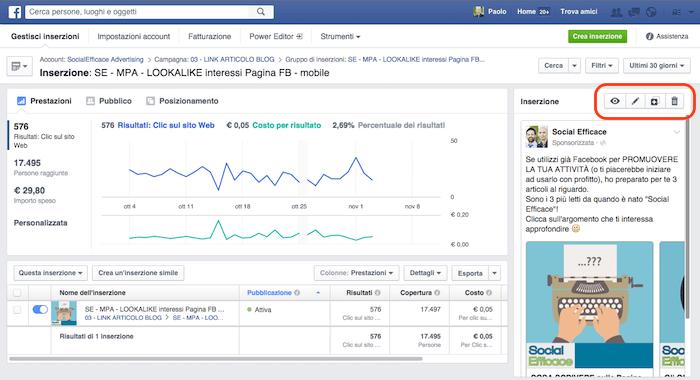 come modificare inserzione facebook - visuale inserzioni