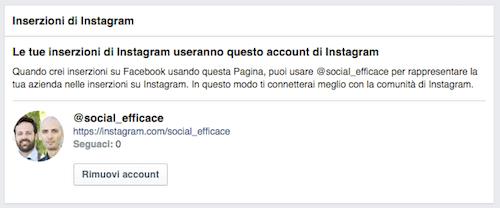 pubblicità instagram - account instagram collegato pagina fb