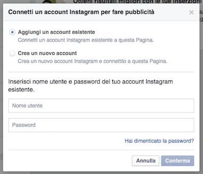 pubblicità instagram - collegare account instagram