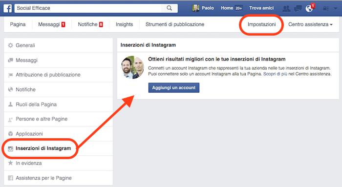 pubblicità instagram - collegare pagina facebook
