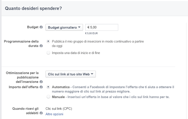 budget importo facebook ads - campi offerta