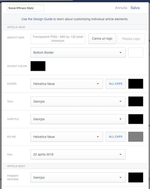 instant articles 18 - configurazione stile personalizzato