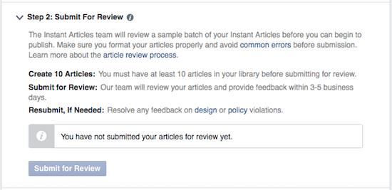 instant articles 26 - invia per la revisione approvazione