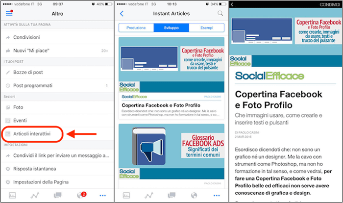 instant articles 27 - app gestore pagine preview