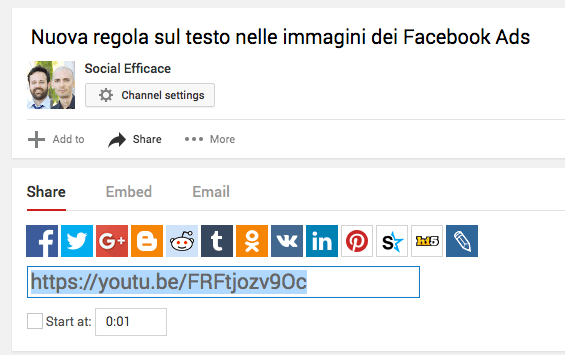 condividere video youtube in facebook