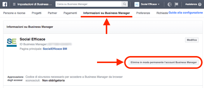 rimuovere eliminare business manager - elimina bm