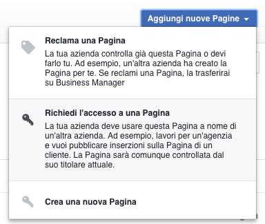 rimuovere eliminare business manager - reclama o richiedi accesso a pagina fb