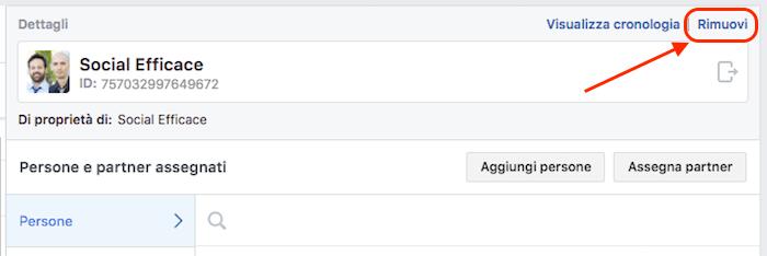 rimuovere eliminare business manager - rimuovere pagina facebook