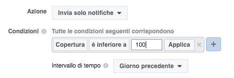 regole automatizzate facebook ads - esempio regola copertura