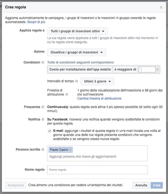 regole automatizzate facebook ads - pannello impostazioni regola