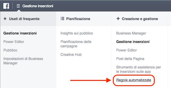 regole automatizzate facebook ads - voce menu