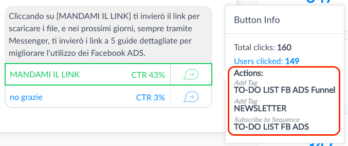 lead gen bot fb ads - manychat messaggio tag e sequence subscribe