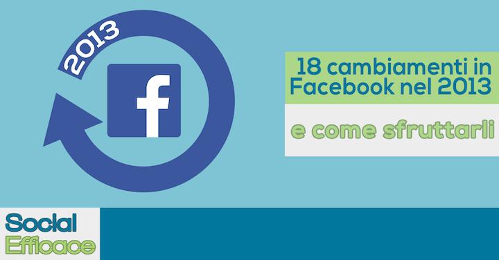 18 cambiamenti in Facebook nel 2013 e come usarli a tuo vantaggio