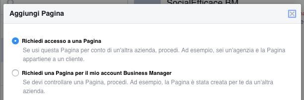 business manager aggiungi pagina facebook