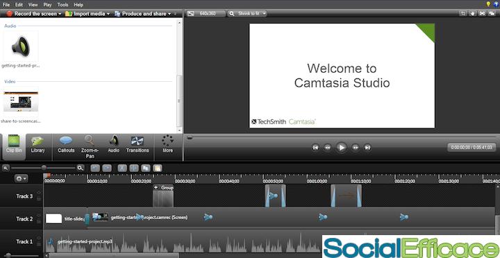 CAMTASIA: creare e modificare video facilmente - interfaccia