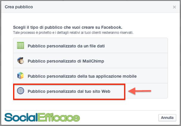 Cambiamenti Facebook 2014 - pubblico personalizzato sito web website custom audience