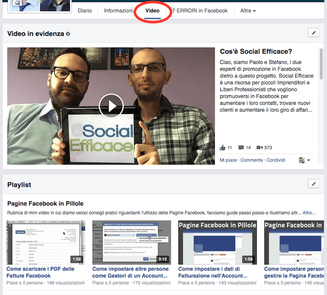 02 tab video della pagina facebook