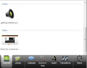 CAMTASIA: creare e modificare video facilmente - menu di sinistra clip bin