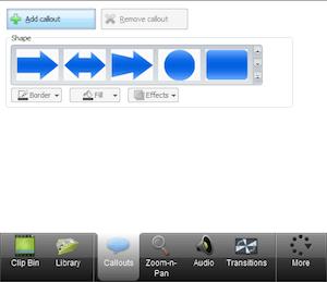 CAMTASIA: creare e modificare video facilmente - menu di sinistra callouts