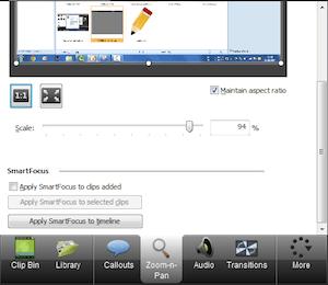 CAMTASIA: creare e modificare video facilmente - menu di sinistra zoom pan