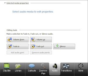 CAMTASIA: creare e modificare video facilmente - menu di sinistra audio