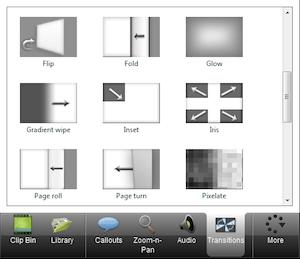 CAMTASIA: creare e modificare video facilmente - menu di sinistra transitions