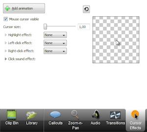 CAMTASIA: creare e modificare video facilmente - menu di sinistra cursor effects