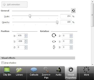 CAMTASIA: creare e modificare video facilmente - menu di sinistra visual properties