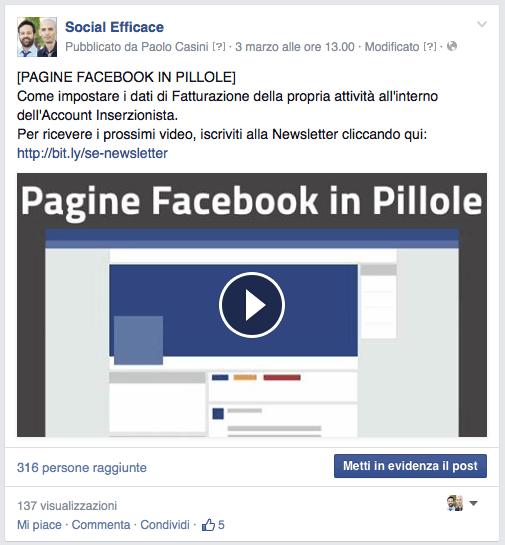 video caricato in facebook e postato