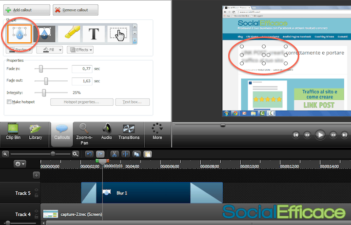 CAMTASIA: creare e modificare video facilmente - effetto blur censura 2