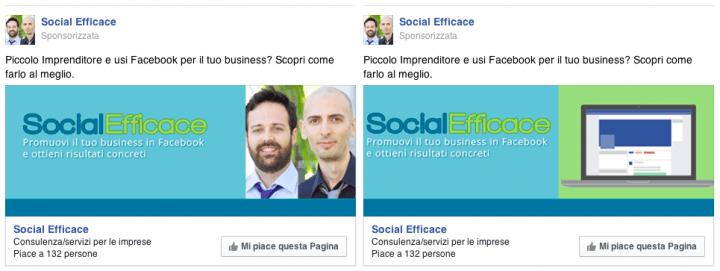 Ottimizzare inserzioni pubblicitarie Facebook: Split Test - esempio annunci