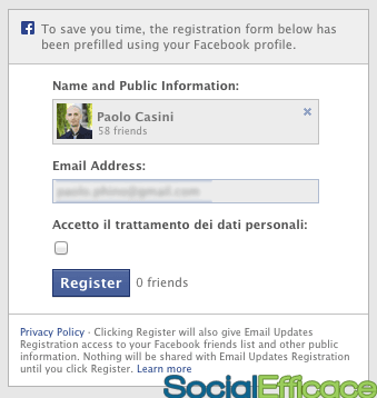 AWeber autoresponder email marketing - form integrazione Facebook