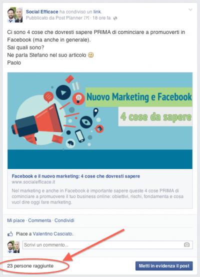 Orario migliore postare Facebook - esempio portata post