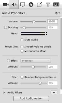 SCREENFLOW: creare e modificare video facilmente - menu audio properties