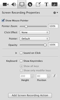 SCREENFLOW: creare e modificare video facilmente - menu screen recordings properties