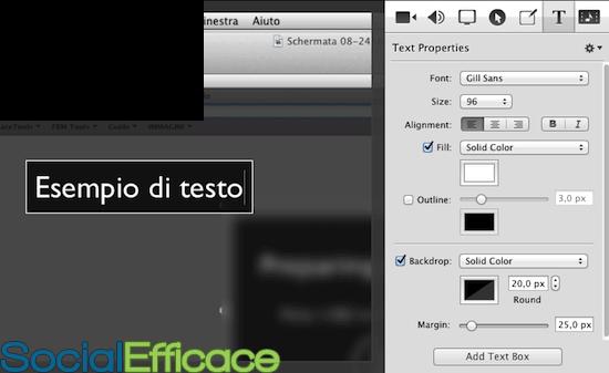 SCREENFLOW: creare e modificare video facilmente - menu text properties