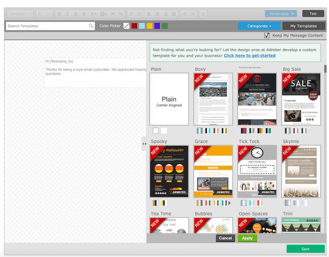 17 aweber creazione email broadcast template
