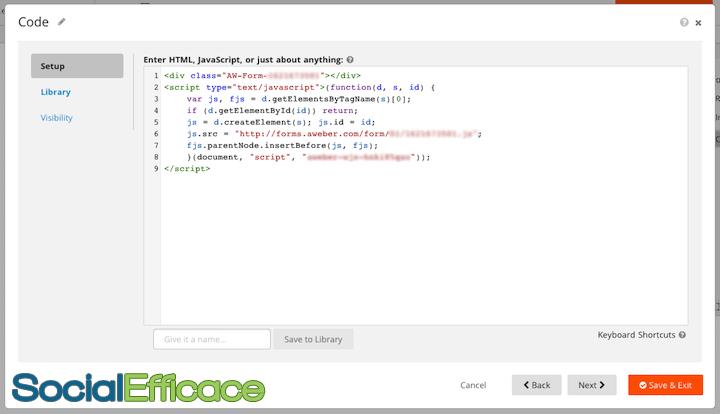 SHORTSTACK: creare APP per Pagina Facebook - widget codice impostazioni