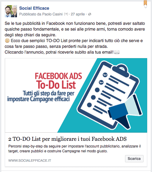 link share - esempio to do list fb ads